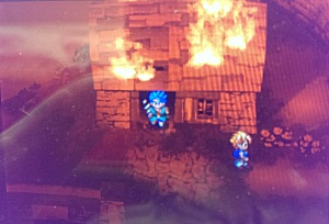 A home town on fire in a JRPG? Get out!
